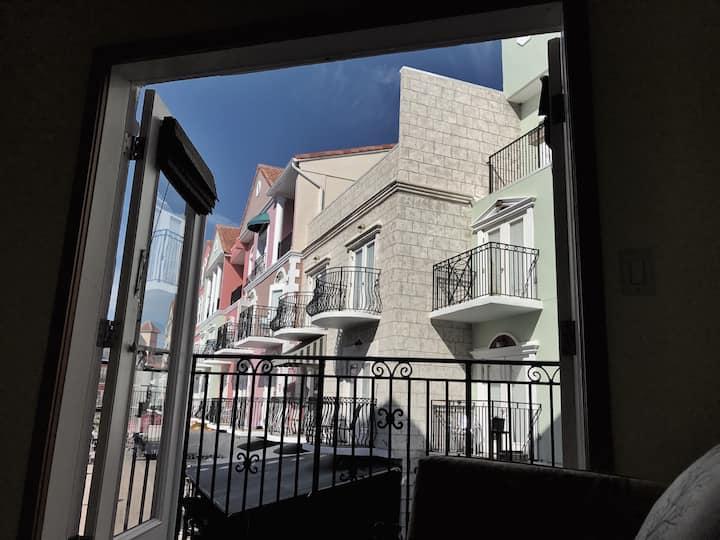 Balcony View Suite B European Village Near Beach!