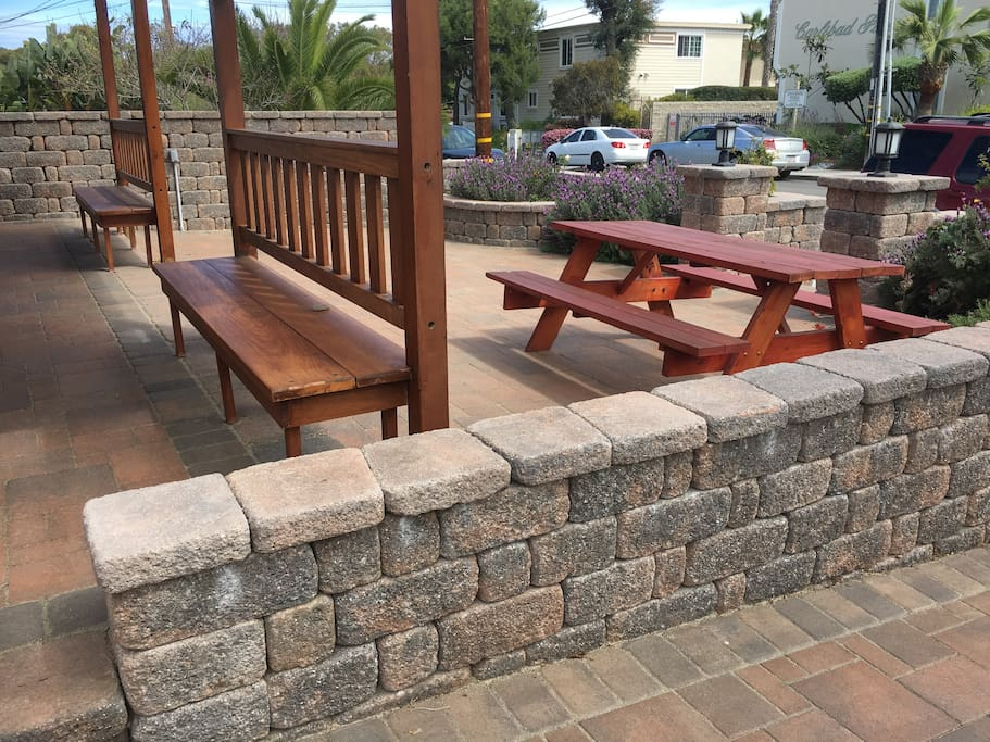 Front porch with picnic bench seating