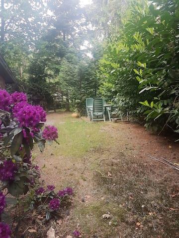 Aan de zijkant ook tuin met zitje in de zon