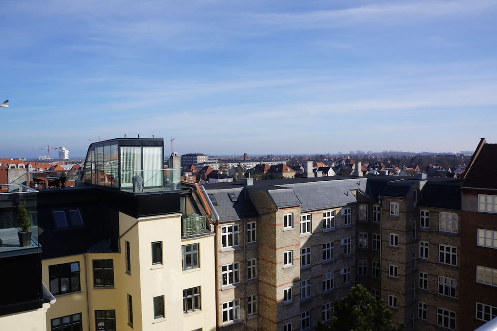 View across Øresund all the way to Sweden and the city Malmø