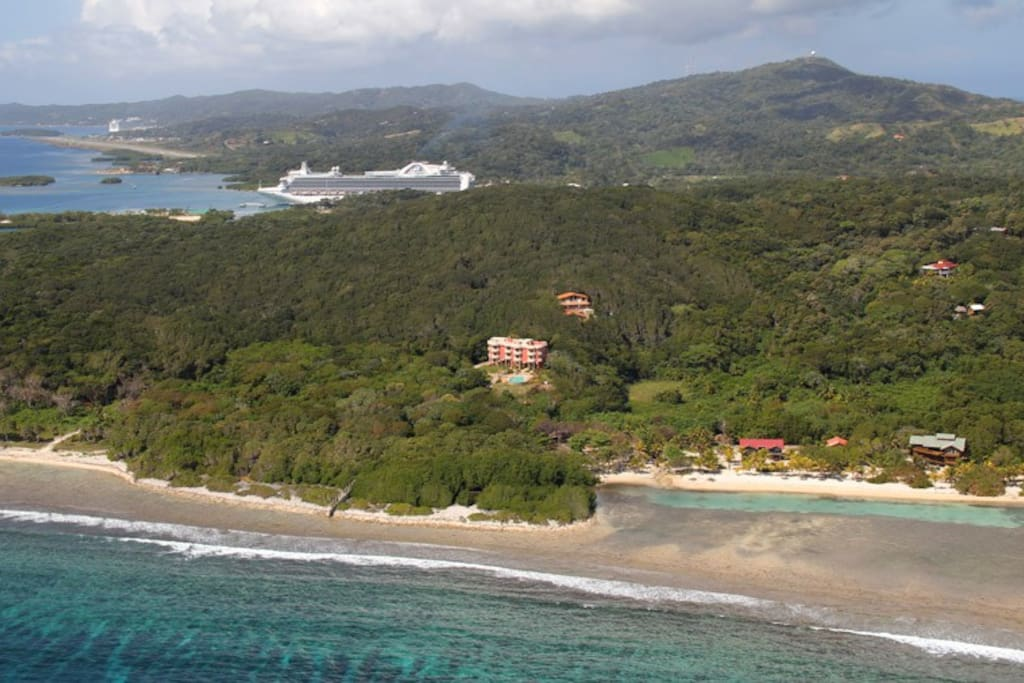 Aerial View: Close to Cruise Ship Ports and Airport, yet private end of the road secure resort!