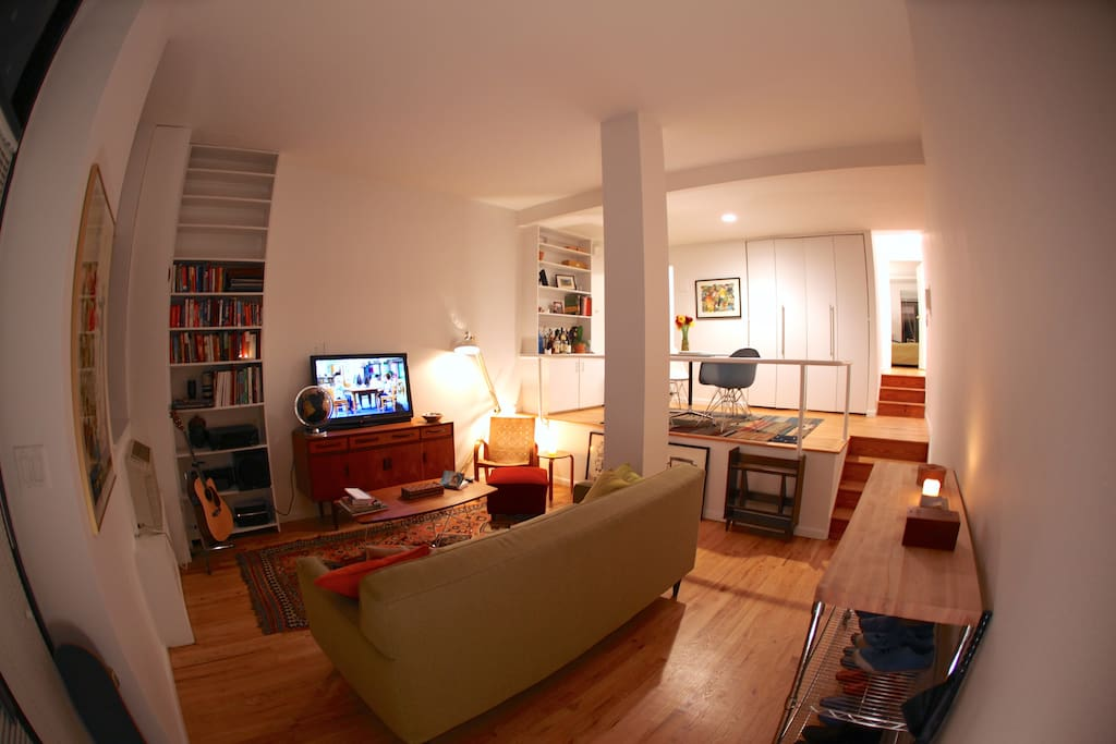 View from the entry way into the apartment (evening shot; the right hallway leads to the bedroom)