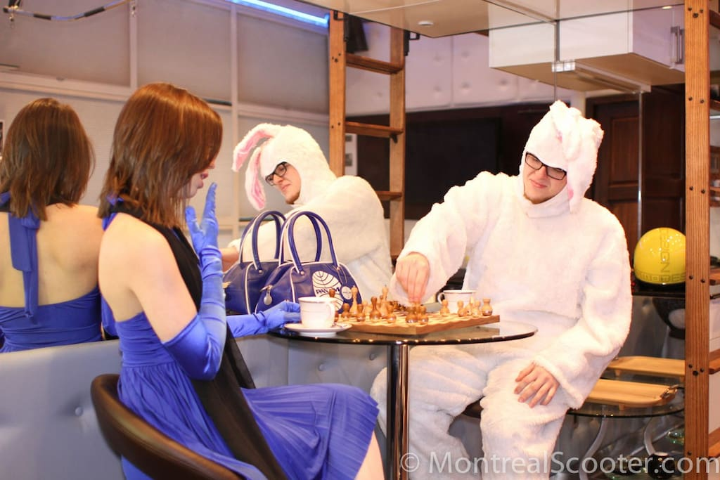 Oh snap! Lil' Coco just got checkmated by a guy in a bunny suit!