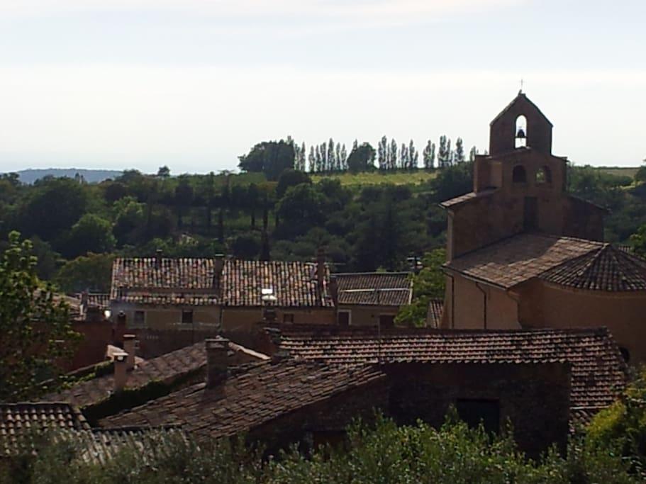 vue sur le village et la campagne