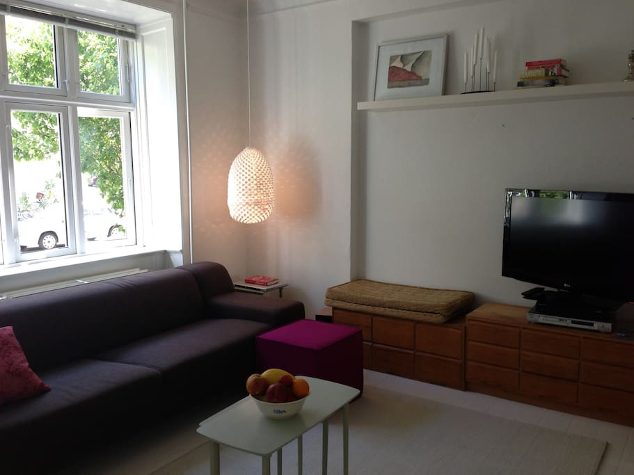 Cosy living room with cable tv. A comfortable place to rest after a long day.