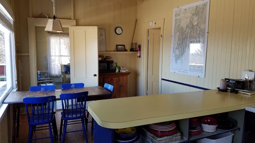 Kitchen, looking into living room. (Ocean view is on left)