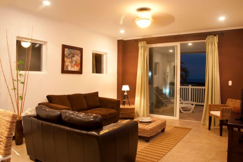 Main living area with balcony access