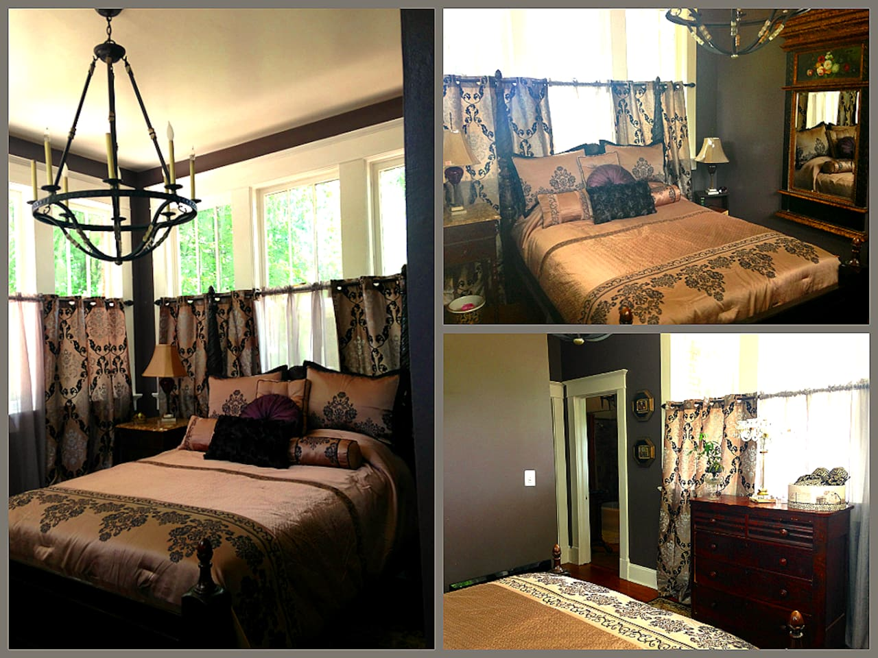 Sheer Elegance... Private  suite with queen poster bed. Large day light windows & flat screen T.V. This suite has personal towels & bath robe for your convenience. Your suite opens to a grand marble bath with large tub, shower & claw foot sink.