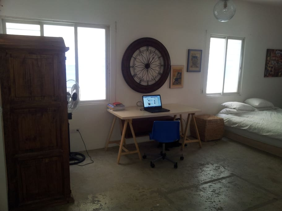Main room: desk and Mexican armoire