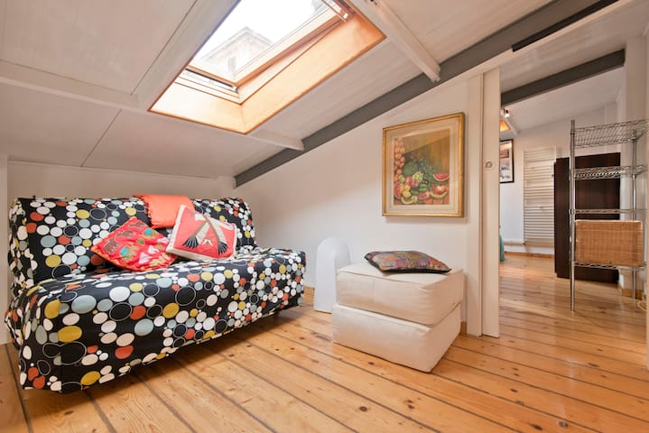 Comfortable sofa bed for 2 people with skylight