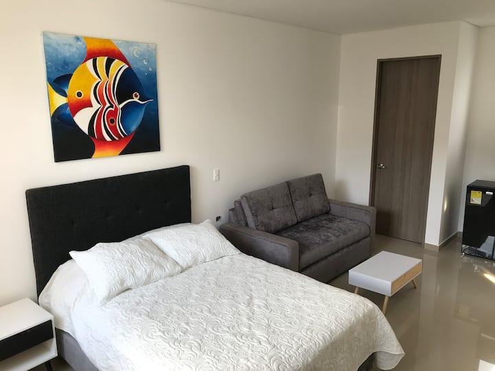 Agradable apartaestudio con aire acondicionado