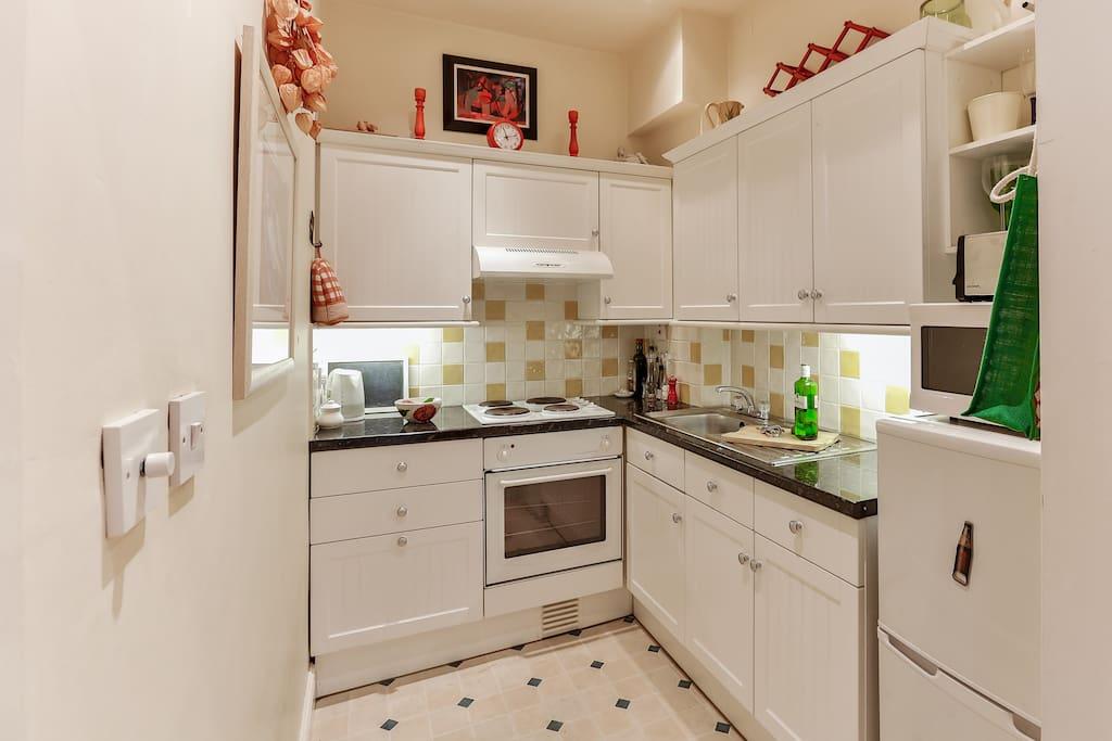 Kitchen with fridge/freezer