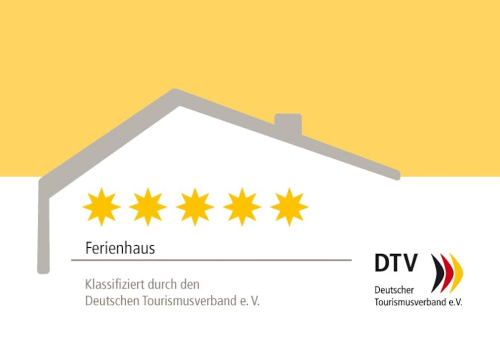 Urlaub auf höchstem Niveau: Unser Landhaus wurde vom Deutschen Tourismus Verband klassifiziert und mit 5 Sternen ausgezeichnet