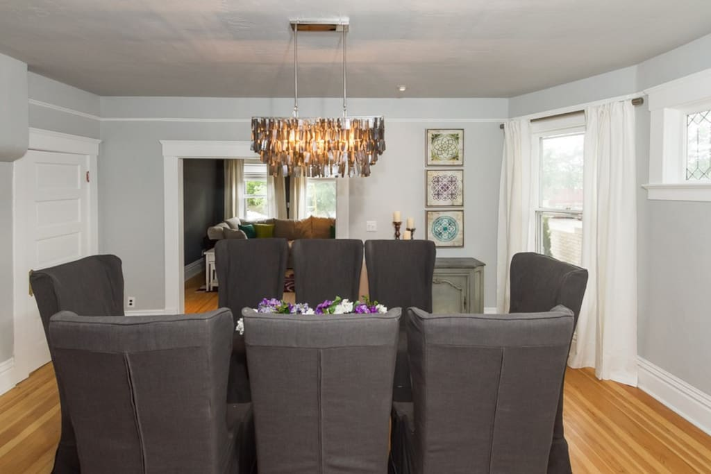 You'll love eating in this beautiful room. The high-back chairs make it feel luxurious