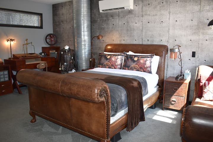 10ft Steampunk Leather & Carved Wood Queen Sleigh Bed