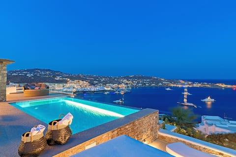 Luxusvilla mit mykonischem Juwel +Weg zum Strand!