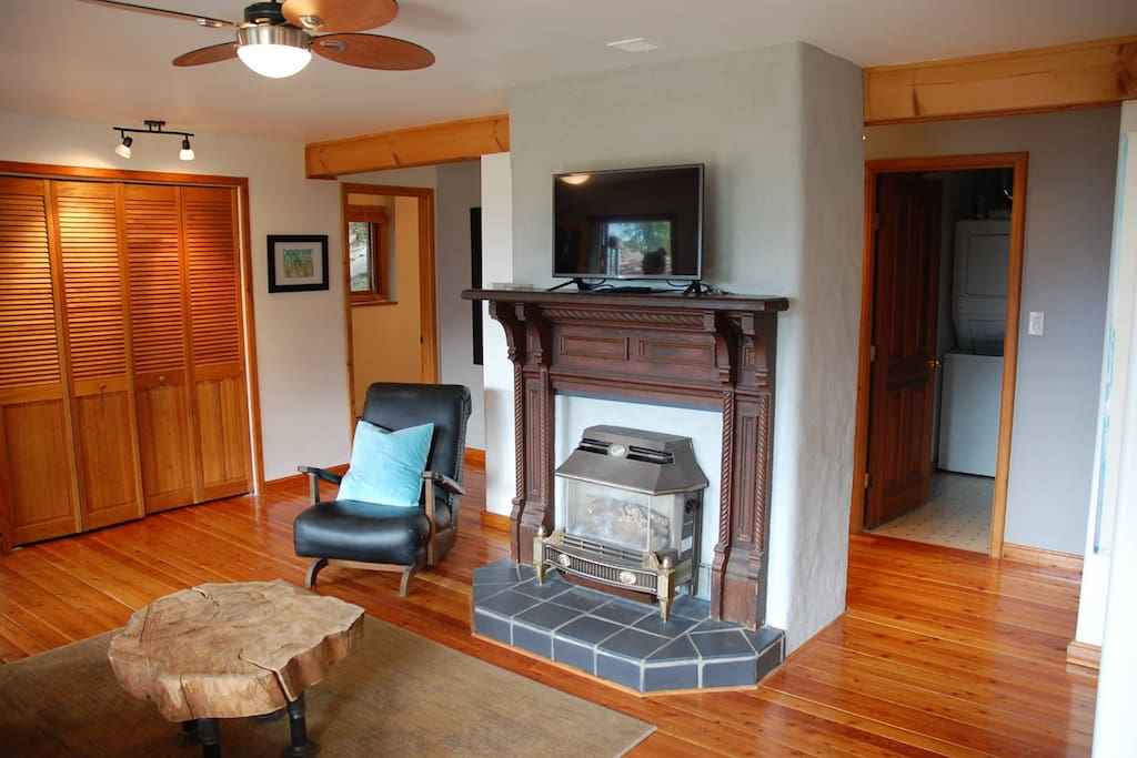 Gas fireplace in the living room, laundry room shown behind