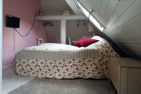 De roze kamer, met elektrisch verstelbare bedden.