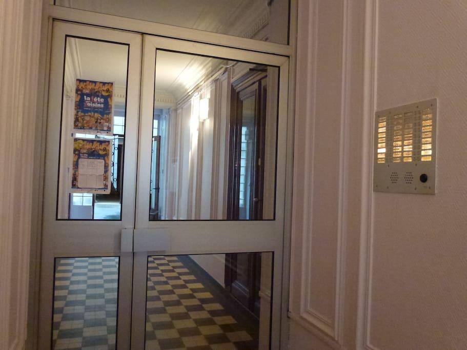 The building's entrance door.