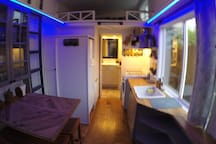 Kitchen + dining area (with LED colored lights on)
