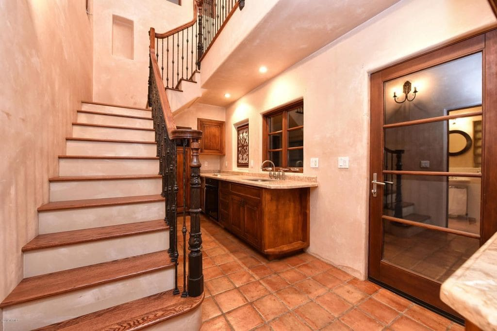 kitchen and stairs to the upstairs bedroom