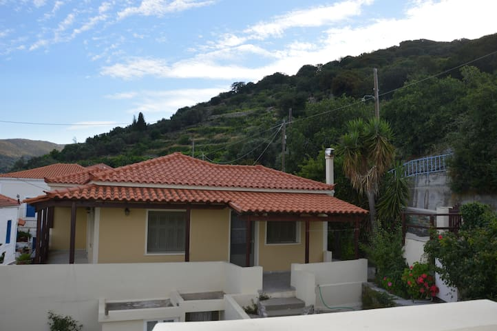 Θέα σε βουνό και θάλασσα - Andros - บ้าน