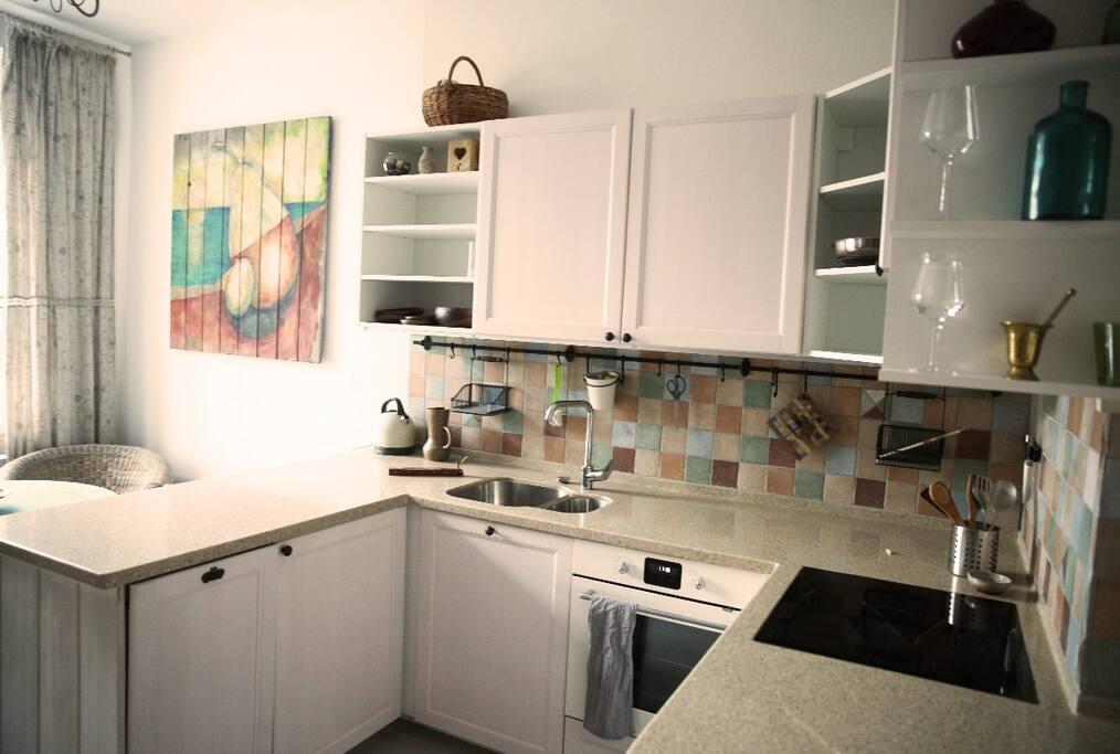 Индукционная плита,  духовка, посудомоечная машина, электрический чайник. Induction cooker, oven, dishwasher, electric kettle.
