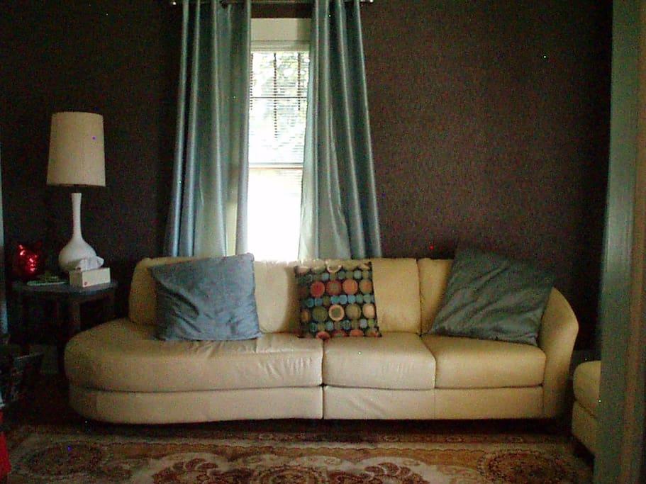 Living Room  w/ leather sofa