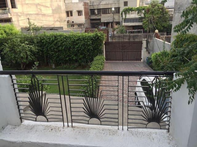 Balcony overlooking garden