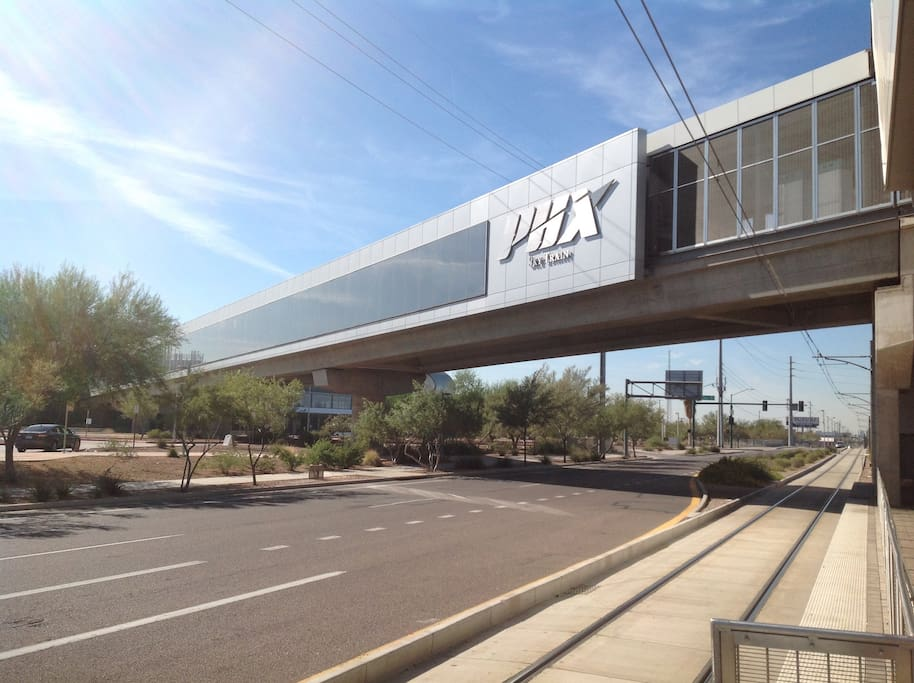 Sky train sky harbor airport to access all the terminals and connects with the city light rail..