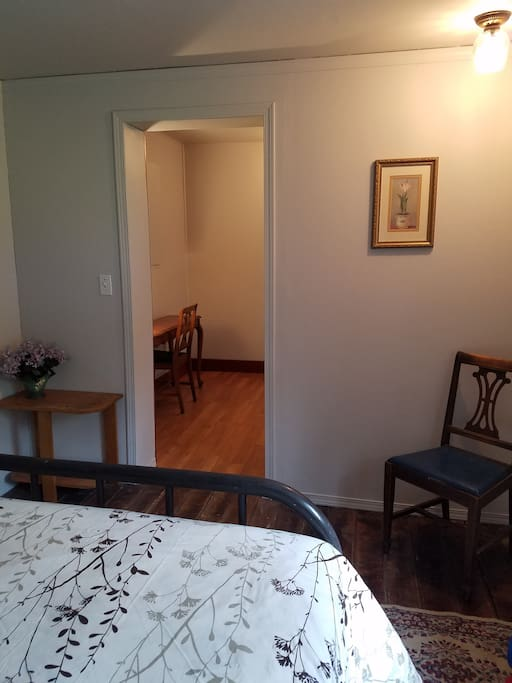 Bedroom opens onto office