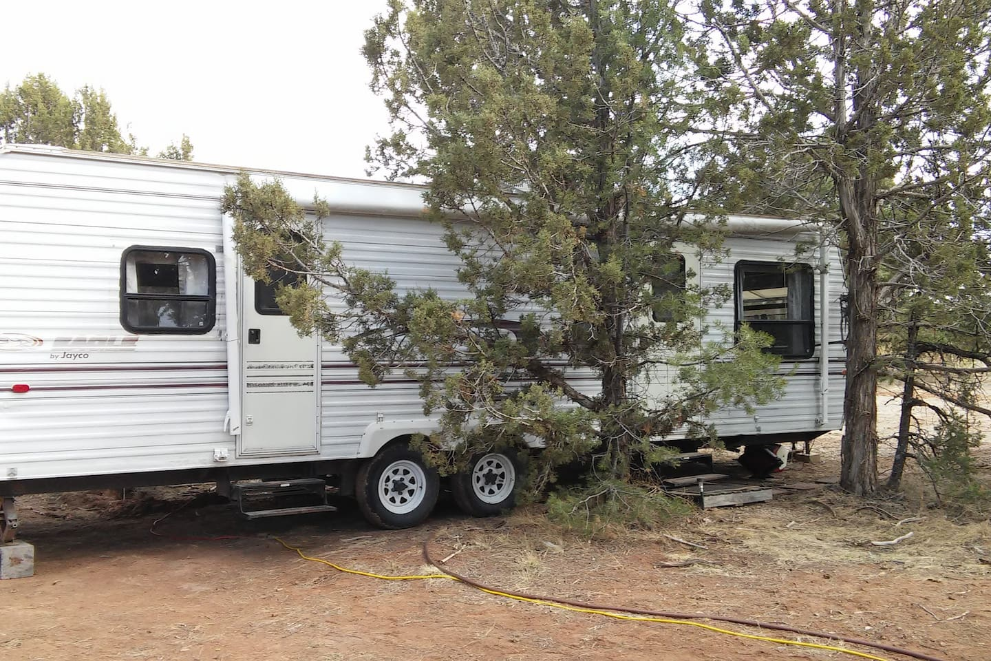 RV in the trees, shaded stone walkway