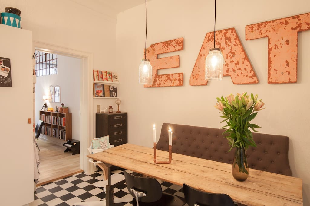 The spacious kitchen where you can spend hours sitting comfortably enjoying a meal or a glass of wine