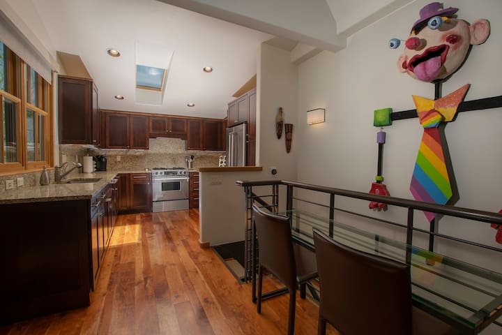 The kitchen is roomy and fully equipped.