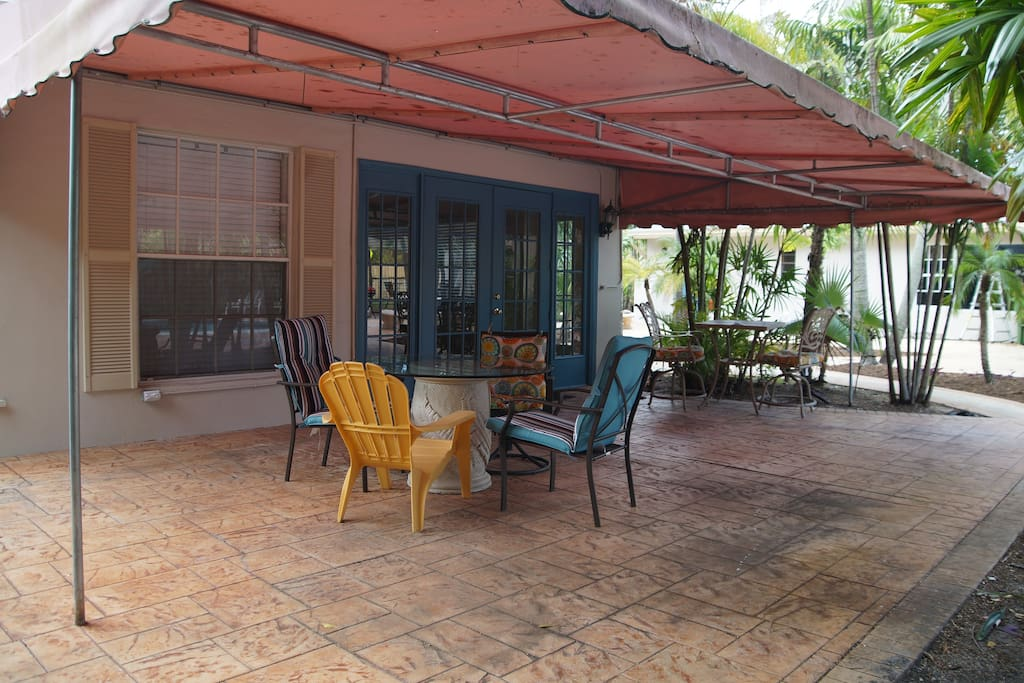 Cottage patio from the south, under the awning.