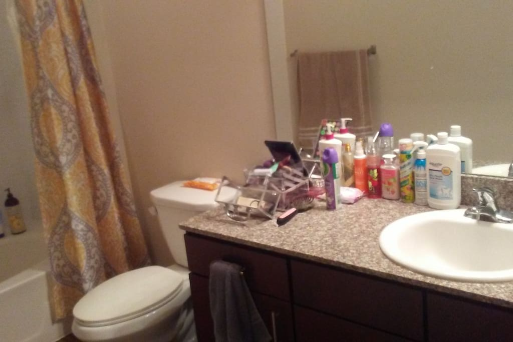 Spacious bathroom with full sized vanity and plenty of toiletries provided!