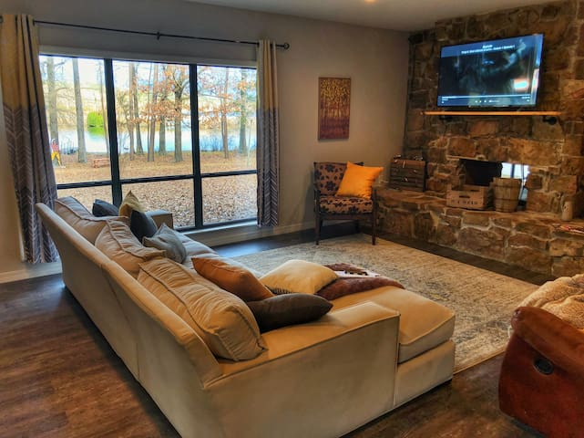 main living room with lake view