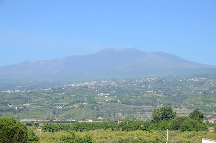 Flat the sea-front and Etna behind