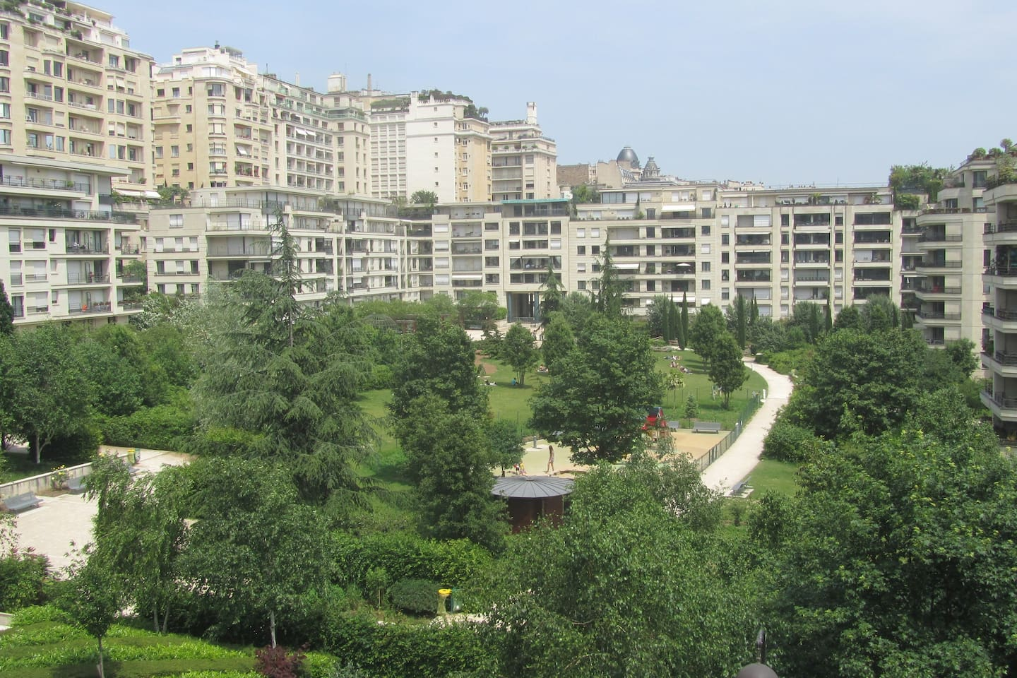 Marvelous view from balcony of Passy Parc 3 rooms flat.