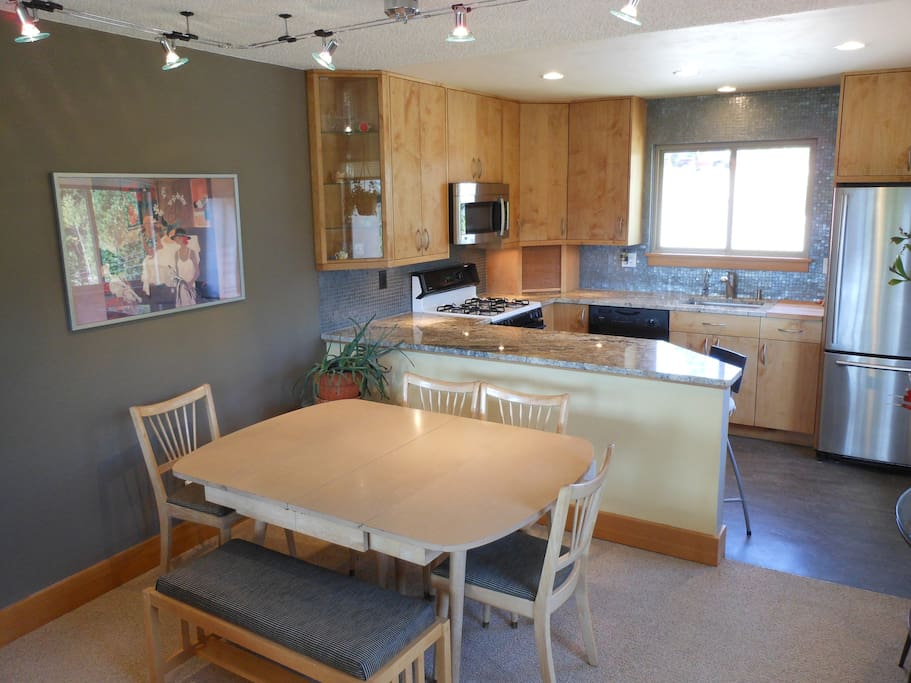 The table expands and additional seating makes this a delightful dining area.