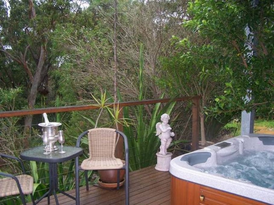 Private deck and spa set in bush with views of Nelson bay and beyond
