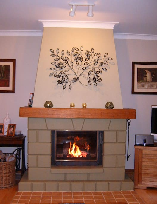 Cosy fire creates a wonderful atmosphere on cold winter evenings