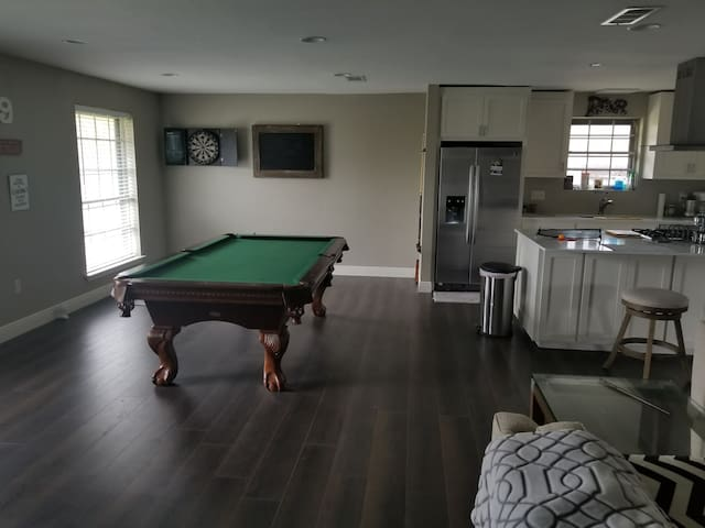 Private room & bathroom, open  living area & patio