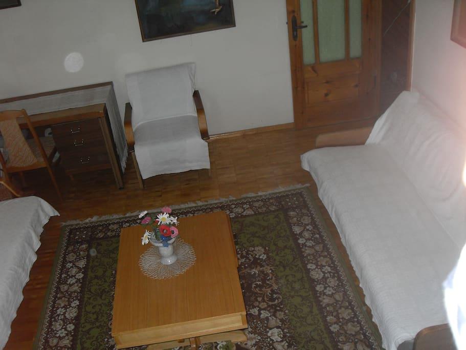 Wohnzimmer mit ausklappbaren Sofabetten