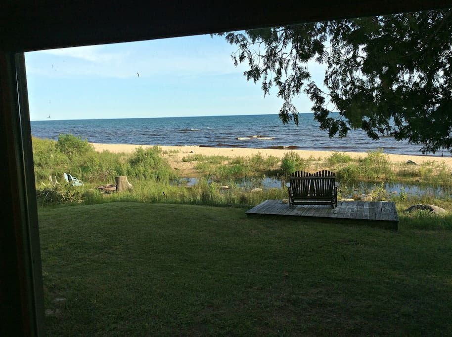 View of Lake Michigan from inside cabin