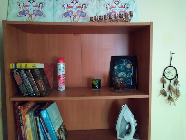 Bookshelf with space.