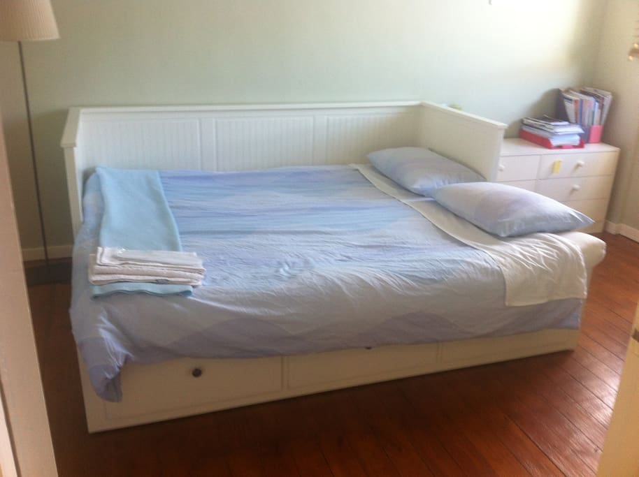 Single/double bed room. This IKEA convertible bed with wooden slatted bed base and also opens as a double bed. This room is always available!