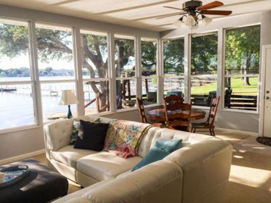Enjoy PK Lake and incredible views from this comfortable living space.
