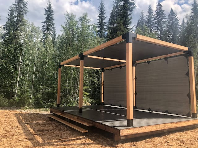Large 16' x 26' outdoor space with pergola.  Great for relaxing, yoga or a small wedding!
