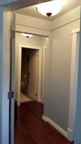 Hallway off our living room with door for separation and privacy